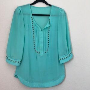 Tops - Teal no name vintage studded flowy blouse medium